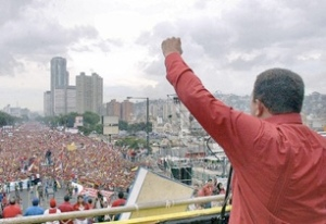 Hugo Chavez speaking to the people during the 2012 presidential election