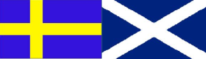 Flags of Sweden (L) and Scotland (R)