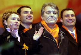 Leaders of the ;Orange Revolution', Yushchenko & Tymonshenko.  Photo from AFP.